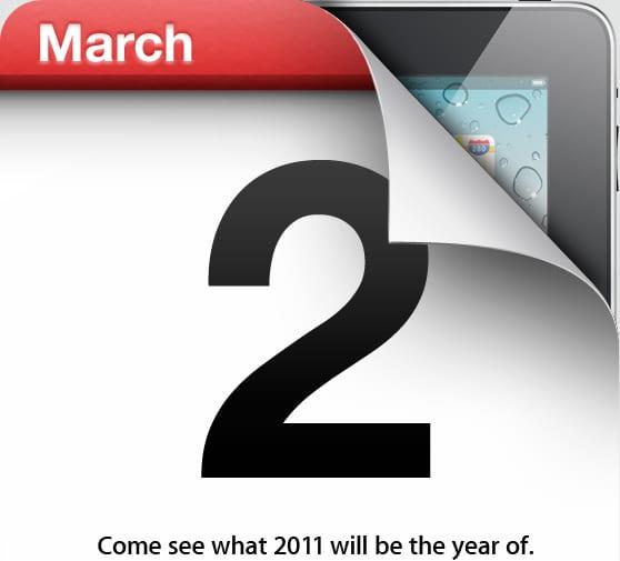 iPad 2 sortie prévue le 2 mars 2011, info confirmée par Apple