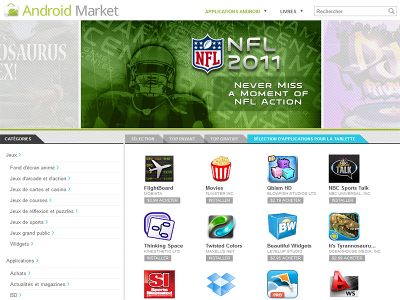 "Android Market : un nouvel onglet ""Applications pour la tablette"" 1"