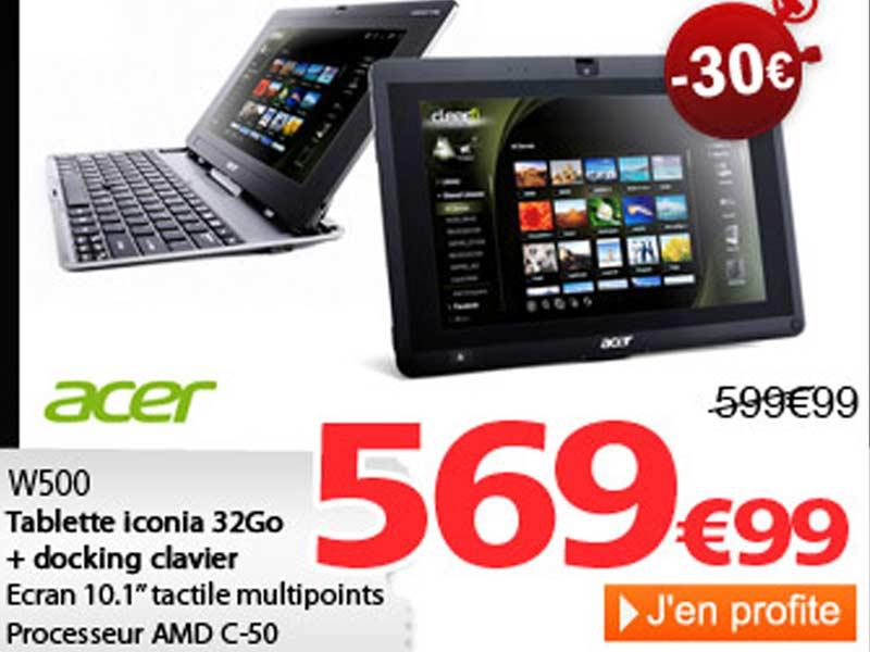 Acer Iconia Tab W500 : Offre spéciale chez RueDuCommerce.com !