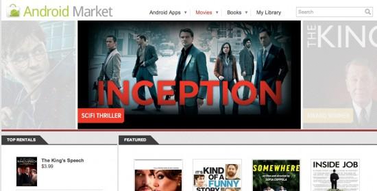 Android Market : nouvel onglet pour louer des films sur votre tablette