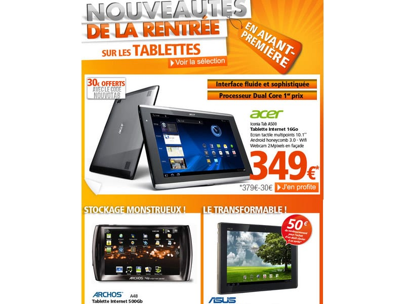 les tablettes tactiles acer iconia tab a500 et asus eee. Black Bedroom Furniture Sets. Home Design Ideas