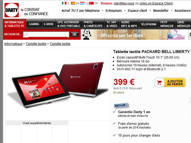 "La tablette tactile Packard Bell ""Liberty Tab"" est disponible chez Darty 4"