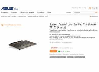 Asus annonce l'arrivée en stock du dock pour tablette Eee Pad Transformer 2