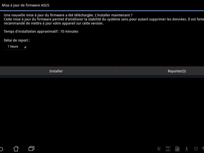 Mise à jour tablette Asus Eee Pad Transformer 1