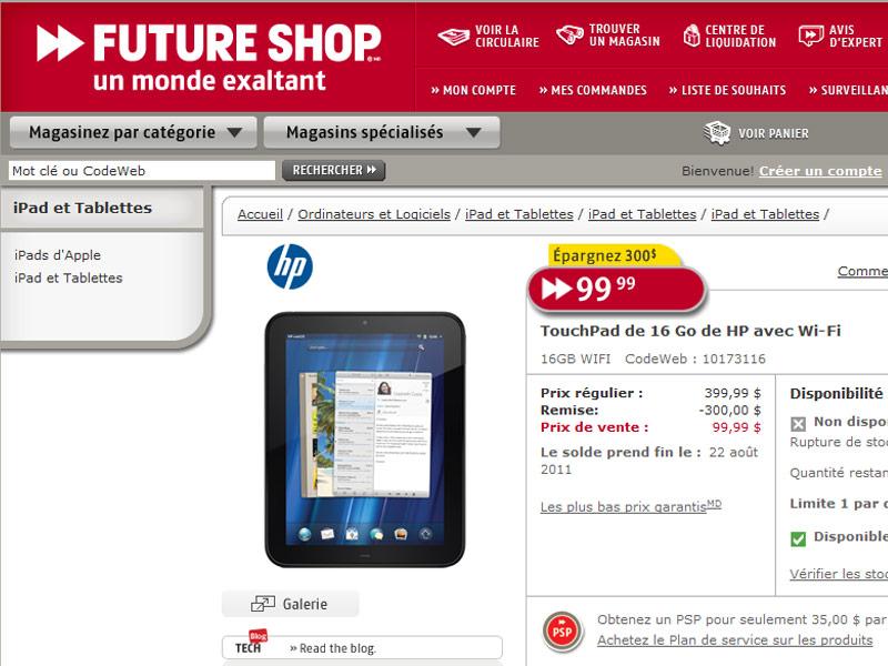 La HP TouchPad liquidée à 99$ au Canada ! 2