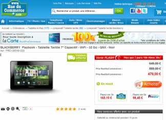 La Blackberry Playbook 32Go à 479€ chez RueDuCommerce