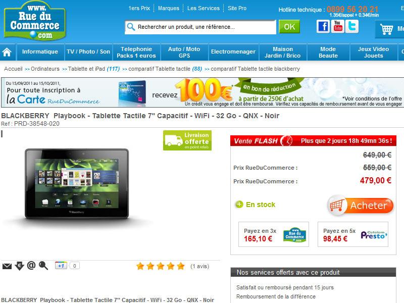 La Blackberry Playbook 32Go à 479€ chez RueDuCommerce