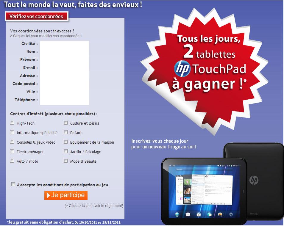Jeu Concours Tablette Hp Touchpad Rueducommerce Ilovetablette Com