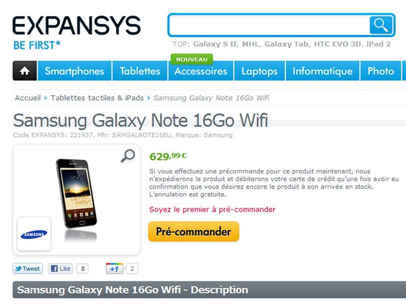 Samsung Galaxy Note : En pré-commande sur le site Expansys