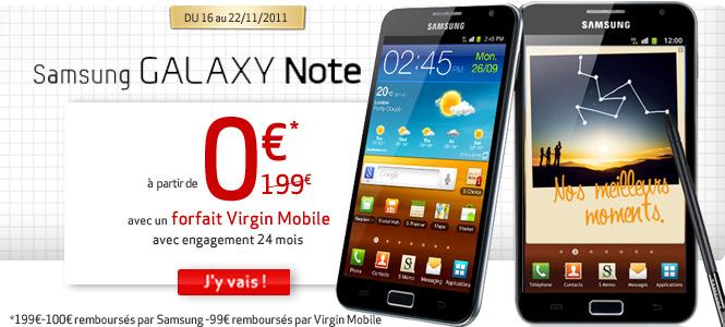 Forfait Samsung Galaxy Note : à partir de 0€ avec un abonnement Virgin Mobile !