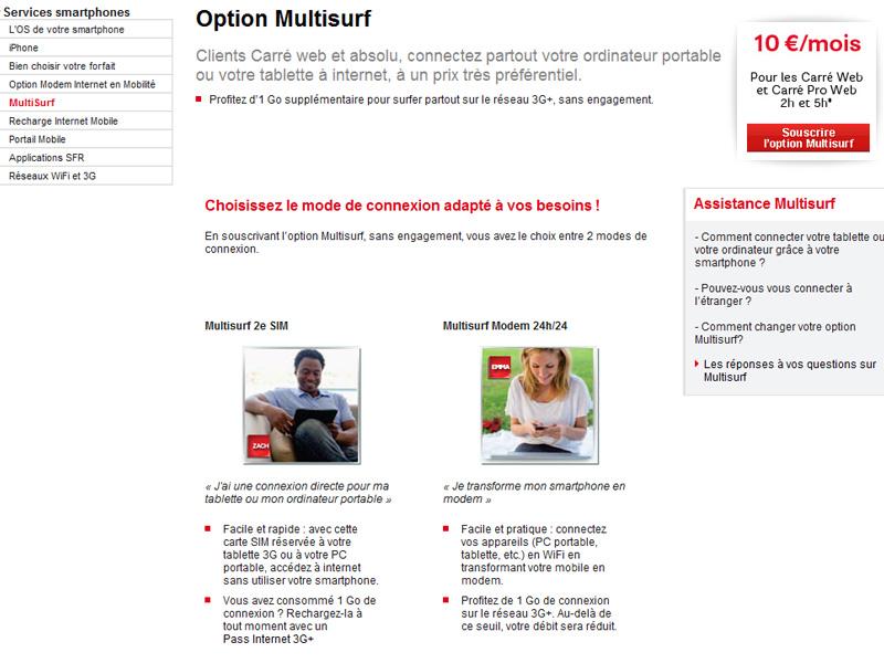 Forfait Tablette Tactile : SFR lance son forfait Multisurf