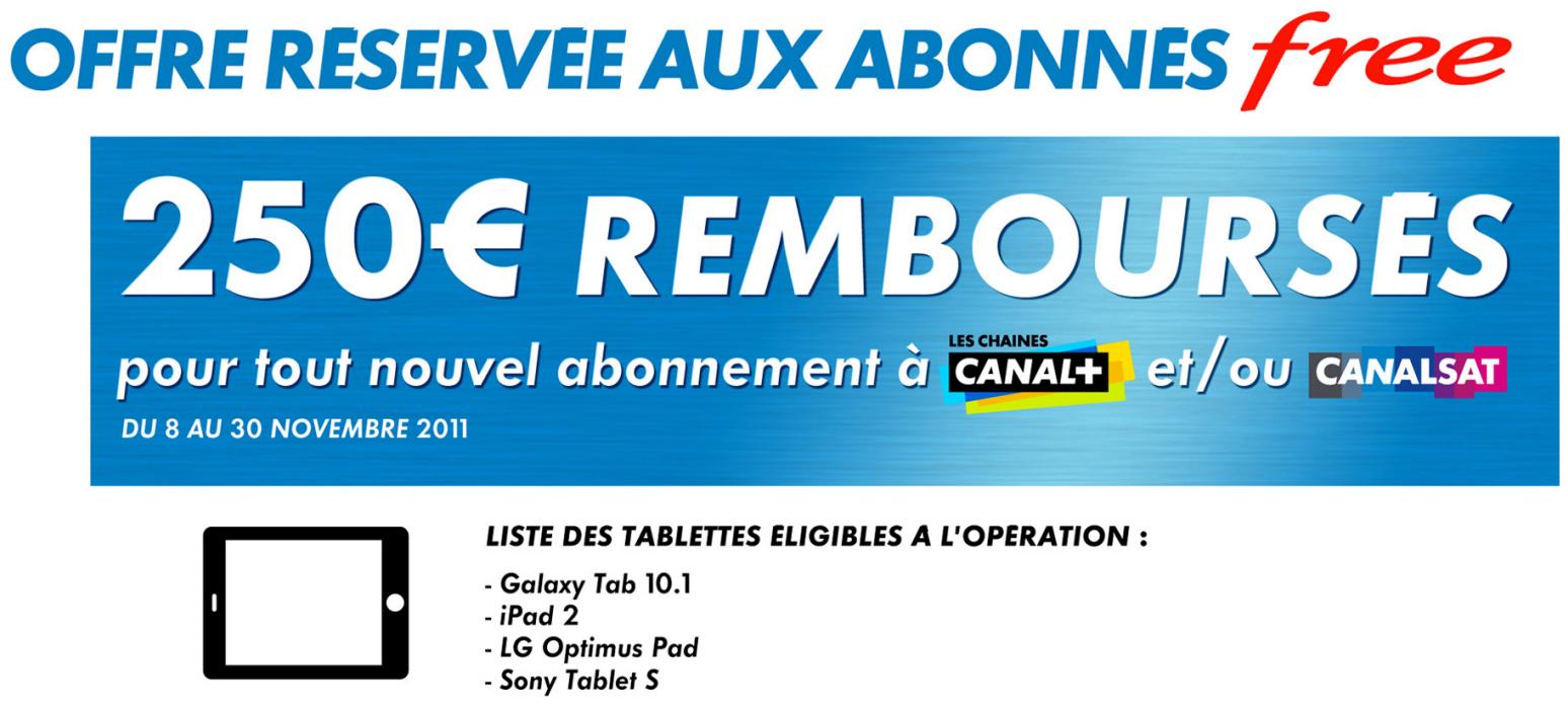 Offre Tablette Tactile Canal + : jusqu'à 250€ remboursés sur une tablette