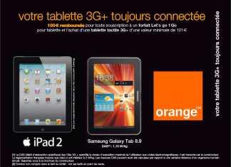 Promo Tablette Tactile : 100€ remboursés pour l'achat d'une tablette 3G+ sur Orange