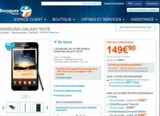 Samsung Galaxy Note : Forfait disponible avec Bouygues Telecom 1