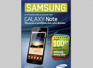 Samsung Galaxy Note : jusqu'à 100€ remboursés pour l'achat d'un Galaxy Note 2