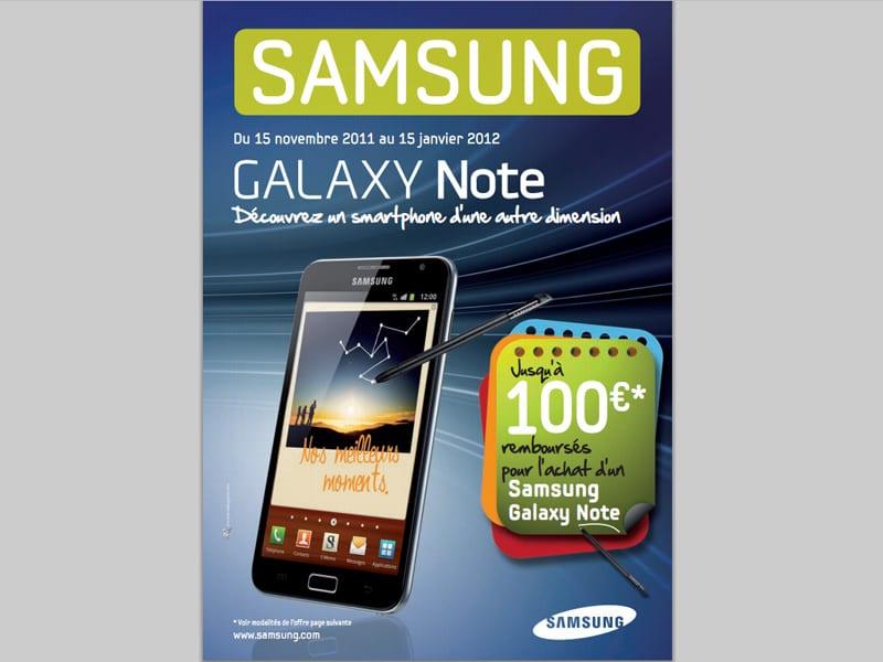 Samsung Galaxy Note : jusqu'à 100€ remboursés pour l'achat d'un Galaxy Note