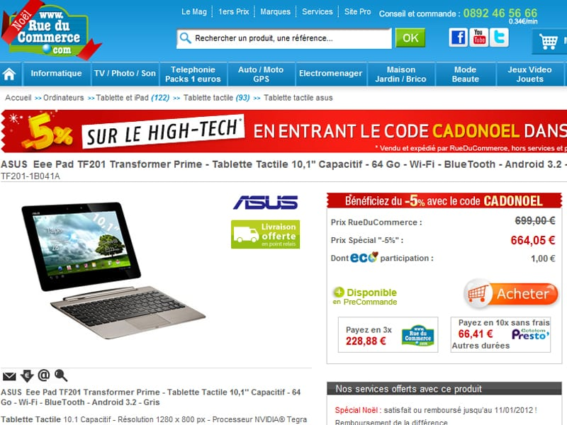 La Asus Eee Pad Prime en pré-commande chez RueDuCommerce.com