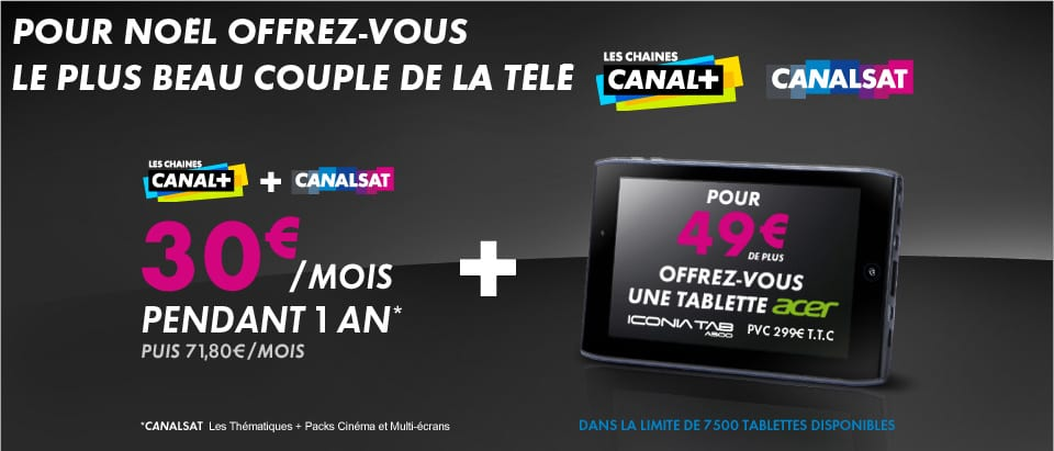abonnement canal canalsat tablette 7 500 tablettes acer iconia tab a100 49. Black Bedroom Furniture Sets. Home Design Ideas
