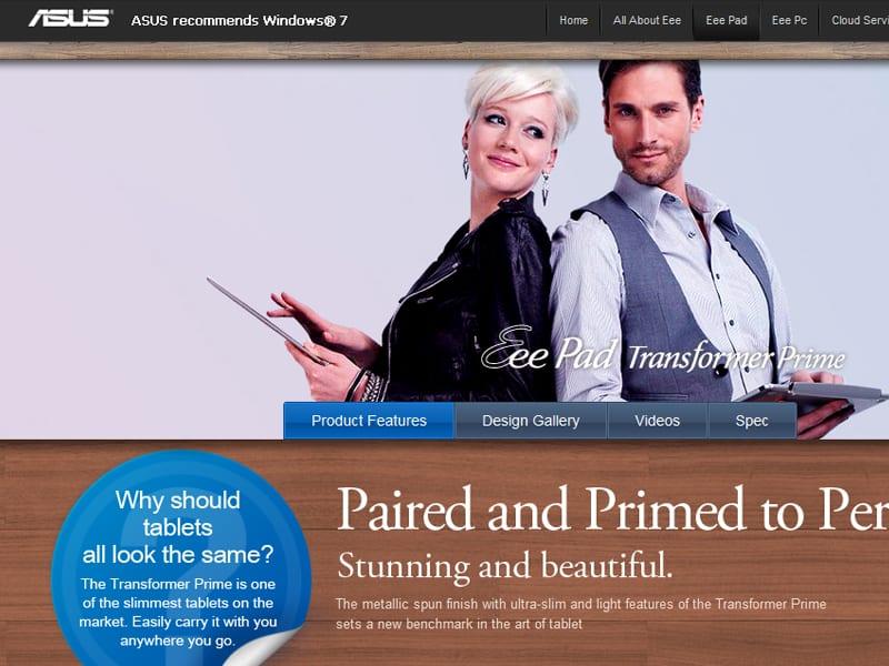 Asus Transformer Prime : lancement d'un site dédié en HTML 5