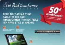 Promo Tablette : 50€ remboursés pour l'achat d'une tablette Asus Transformer
