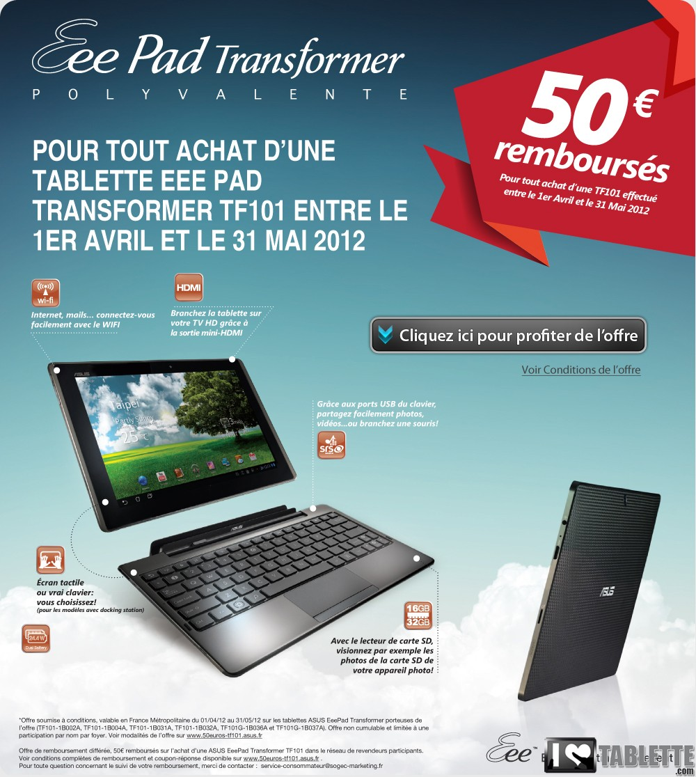 promo tablette 50 rembours s pour l 39 achat d 39 une. Black Bedroom Furniture Sets. Home Design Ideas