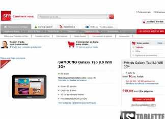 SFR propose la tablette Samsung Galaxy Tab 8.9 à 1 euro
