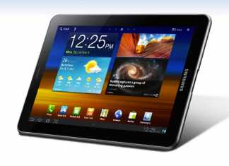 La tablette Samsung Galaxy Tab 7.7 bannie d'Europe 1