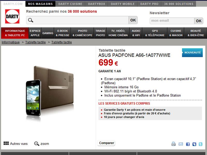Le Asus PadFone en stock disponible en France chez Darty.com