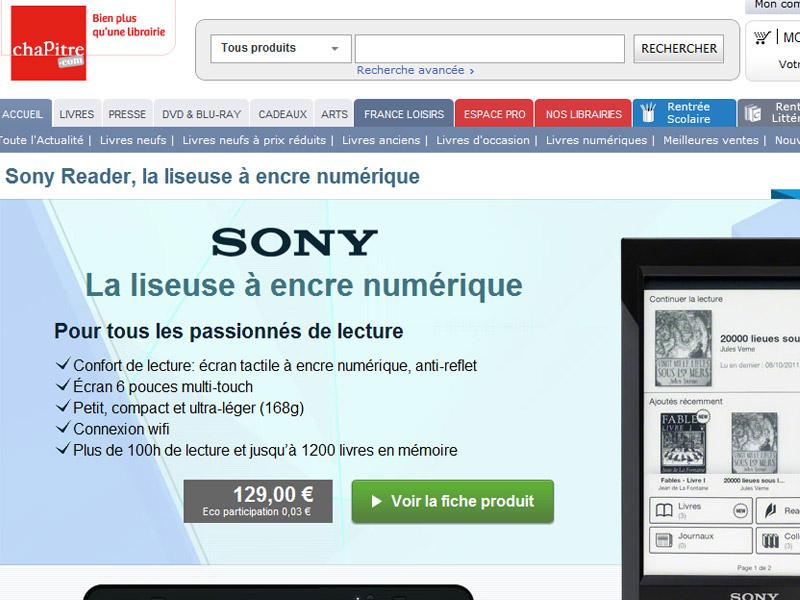 Sony s'associe à Chapitre.com pour distribuer des eBooks Français