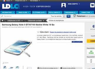Le Samsung Galaxy Note 2 est disponible à l'achat chez LDLC 1