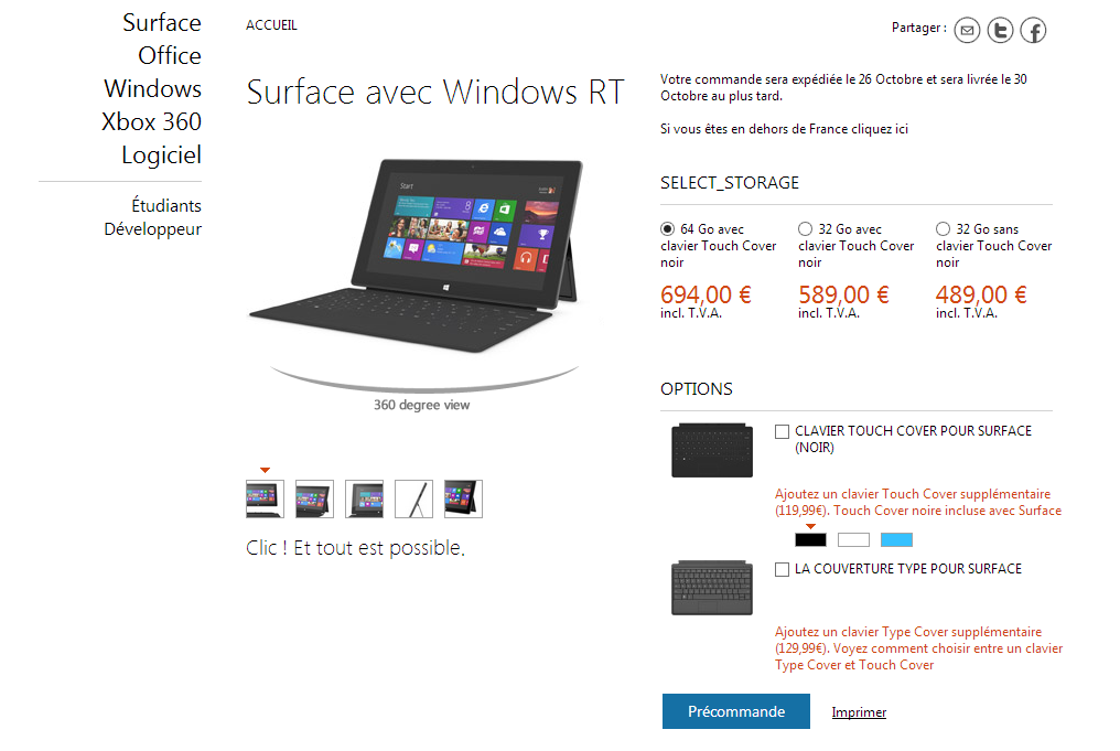 Tablettes Surface : comparatif des versions Windows 8 RT et Windows 8 Pro