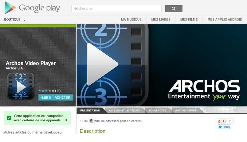 Archos lance son application «Archos vidéo» sur Google Play