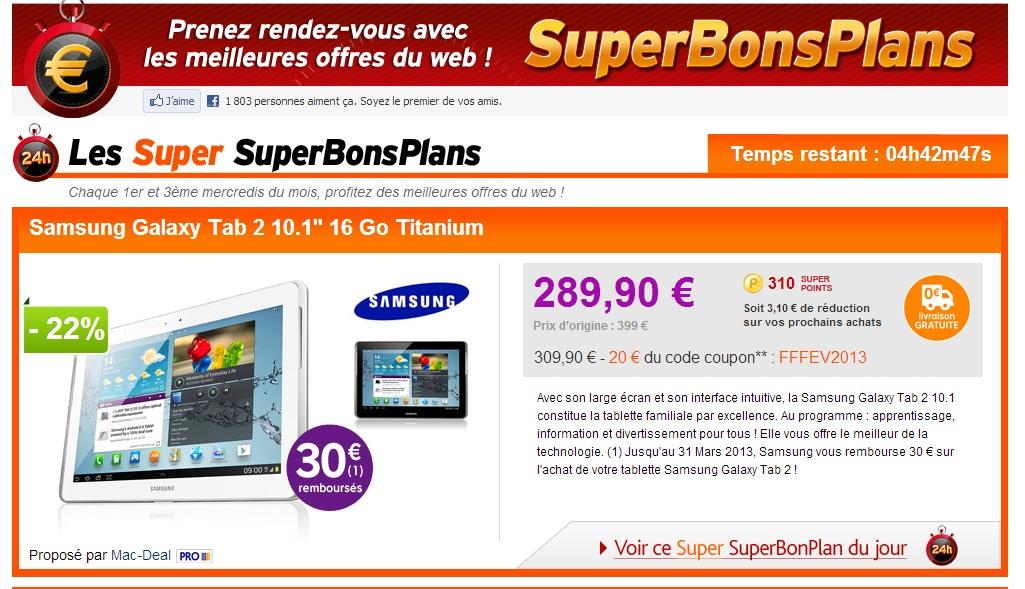 Bon plan pour acheter la tablette Samsung Galaxy Tab 2 10.1 16 Go