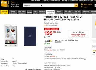 Fnac propose la tablette Kobo Arc avec 32Go à 199€