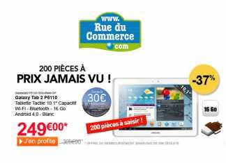 La Samsung Galaxy Tab 2 au format 10.1 pouces à 249€ chez Rue du Commerce