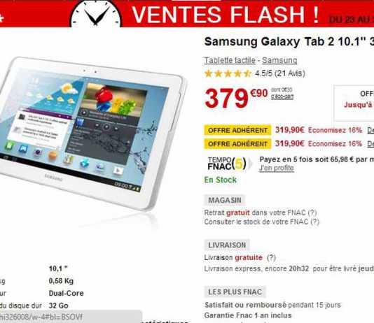 Bon Plan : la Samsung Galaxy Tab 2 10.1 32 Go à 319.90€ à la fnac