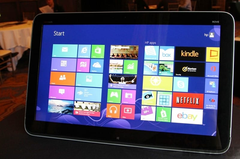 hp lance une tablette de 20 pouces la hp envy rove 20 sous windows 8. Black Bedroom Furniture Sets. Home Design Ideas