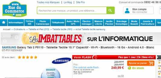 [Promotion] La Samsung Galaxy Tab 2 au format 10 pouces à 219€ chez RueDuCommerce