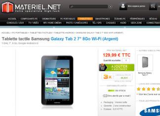 """[Promo]La tablette Samsung Galaxy Tab 2 (7"""") proposée à 129.99€ chez Materiel.net"""