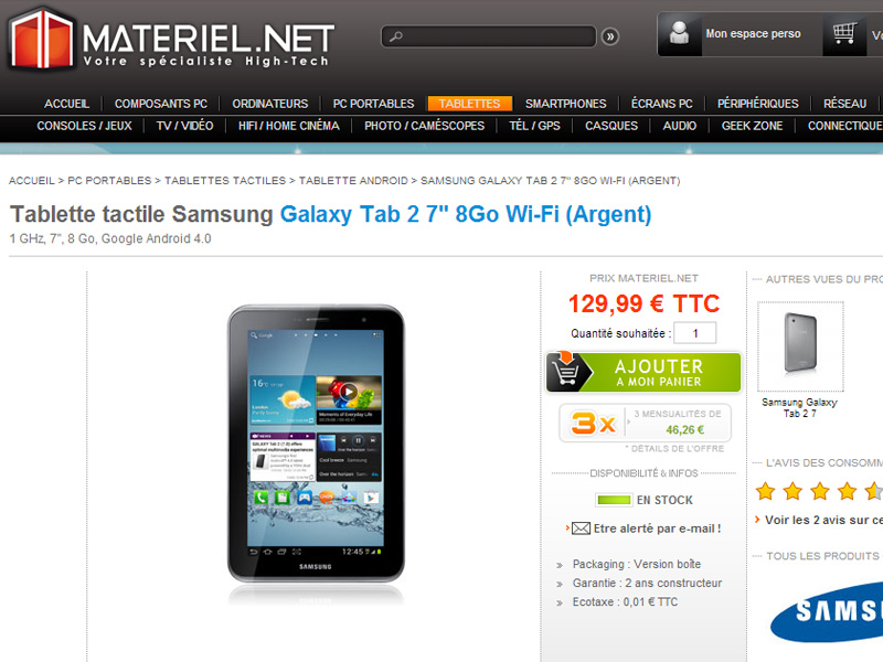 promo la tablette samsung galaxy tab 2 7 propos e. Black Bedroom Furniture Sets. Home Design Ideas