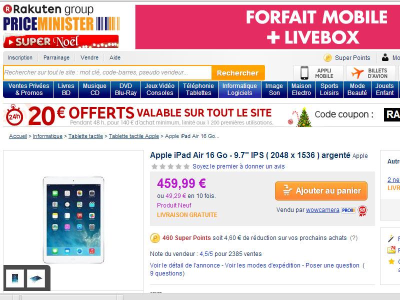 [Bon plan] L'iPad Air proposé à 439.99€ chez PriceMinister