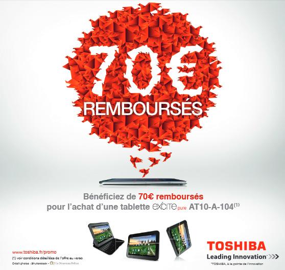 Promo tablette Toshiba Excite Pure : 70 € remboursés jusqu'au 31 décembre