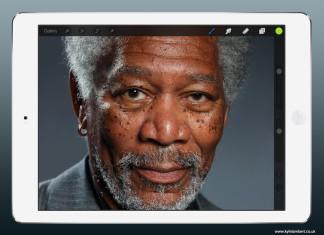 Un artiste créé le buzz en réalisant un portrait de Morgan Freeman avec un iPad Air 7