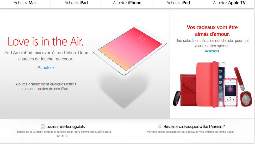 Apple : pour la Saint Valentin, Love is in the (iPad) Air !