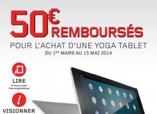 Promo tablette Lenovo : 50€ remboursés pour l'achat d'une Yoga Tablet