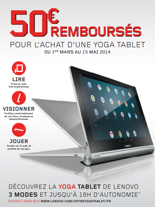 promo tablette lenovo 50 rembours s pour l 39 achat d 39 une. Black Bedroom Furniture Sets. Home Design Ideas