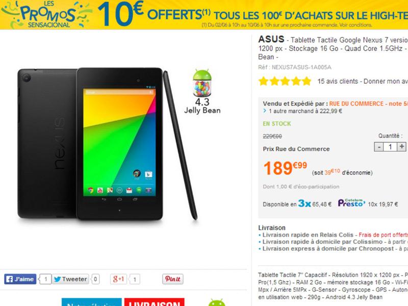[Bon plan]La tablette Google Nexus 7 édition 2013 à 189€ chez Rue Du Commerce !