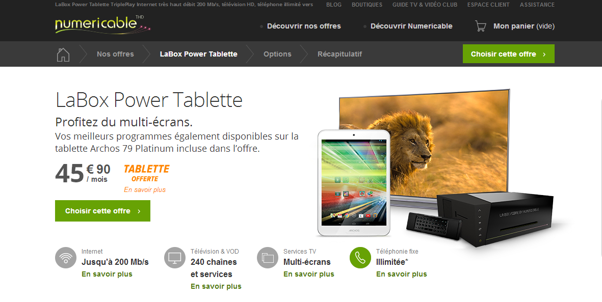 LaBox Power Tablette : Numericable vous offre une Archos 79 Platinum 2