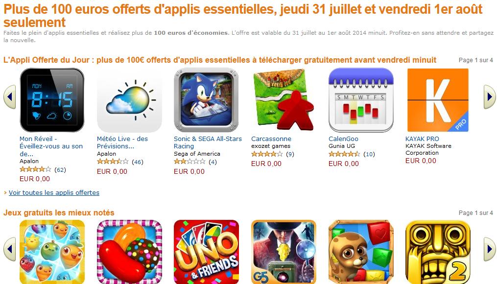 100€ d'applications offertes sur l'App-Shop d'Amazon !