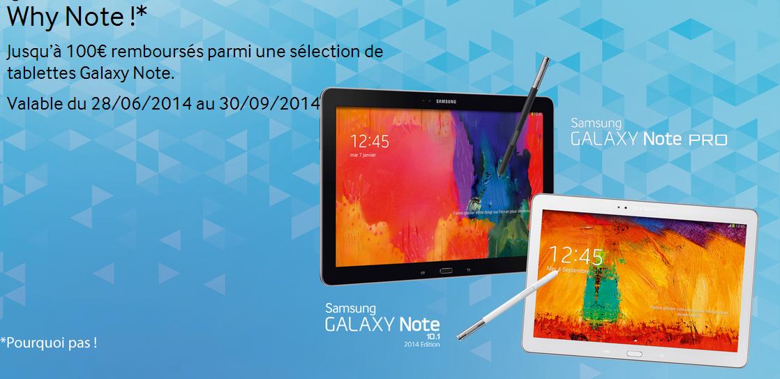 Jusqu'à 100€ remboursés parmi une sélection de tablettes Galaxy Note